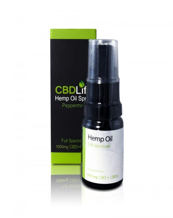 CBD Life Hemp Oil CBD/CBDa Spray (400mg – 1000mg) (Flavour: Peppermint, Strength: 1000mg)
